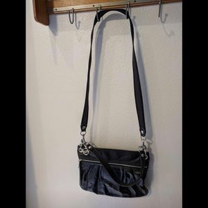 Coach Poppy Black Metallic Leather Hipster Bag